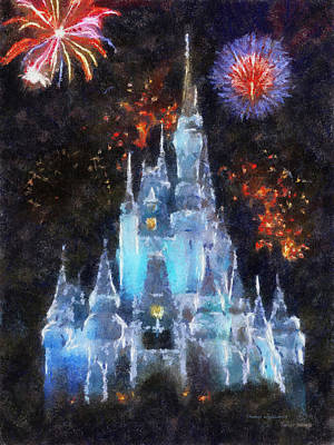 Magic Kingdom Castle In Frosty Light Blue With Fireworks 02 Photo Art Print by Thomas Woolworth