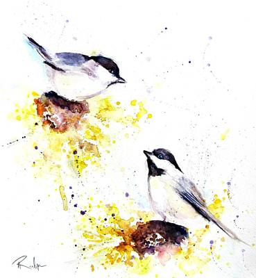 Chickadee Drawing - Magic Moments  by Andrea Realpe