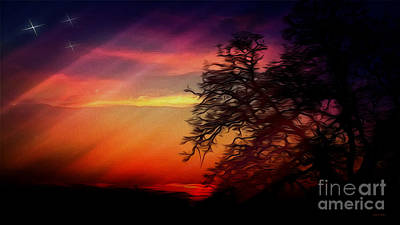 Pink Black Tree Rainbow Photograph - Magic Sunset Painting by Cheryl Young