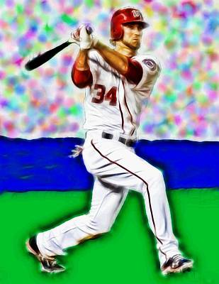 Nats Drawing - Magical Bryce Harper Connects by Paul Van Scott