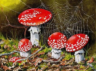 Cobwebs Painting - Magical Mushrooms No 2 by Val Stokes