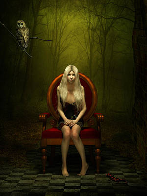 Creepy Mixed Media - Magical Red Chair by Britta Glodde