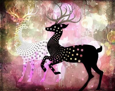 Magical Reindeers Print by Barbara Orenya