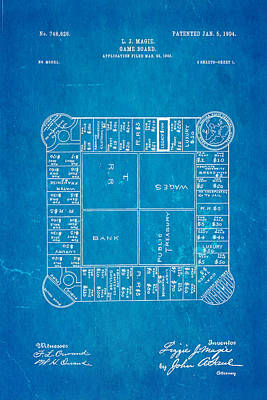 Magi Photograph - Magie Landlord's Game Patent Art 1904 Blueprint by Ian Monk
