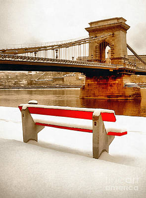 Eastern Europe Painting - Magnificent Chain Bridge In Beautiful Budapest by Odon Czintos