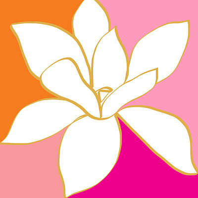 Magnolia 4- Colorful Flower Art Print by Linda Woods