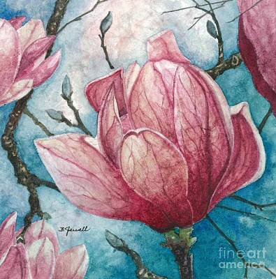 Rice-paper Painting - Magnolia Blossom by Barbara Jewell