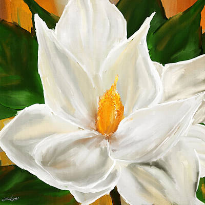 Colorful Abstract Painting - Magnolia's Elegance- Magnolia Paintings by Lourry Legarde