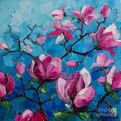 Impression Painting - Magnolias For Ever by Mona Edulesco
