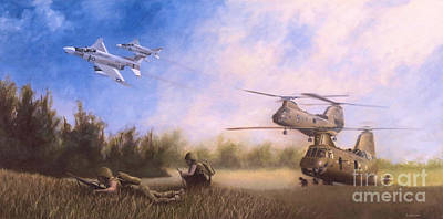 Helicopter Painting - Magtf Vietnam by Stephen Roberson