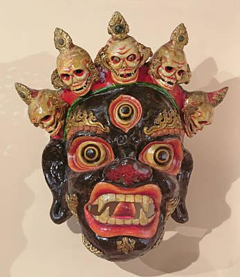 Skull Photograph - Mahakala Dance Mask Painted Wood by Tibetan School