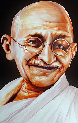 Democracy Drawing - Mahatma Gandhi by Arun Sivaprasad