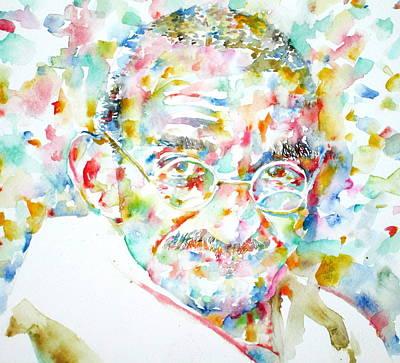 Gandhi Painting - Mahatma Gandhi Watercolor Portrait.1 by Fabrizio Cassetta