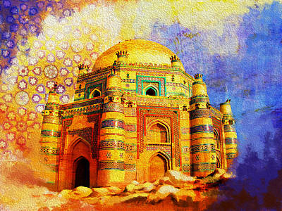 Unesco Painting - Mai Jwandi Tomb On Makli Hill by Catf