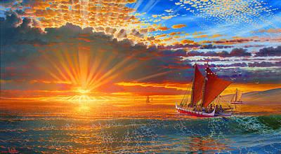 Maiden Voyage Of The Mo'okiha O Pi'ilani Print by Loren Adams