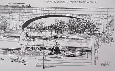 Maidenhead Drawing - Maidenhead Railway Bridge by BullockArt BullockArt