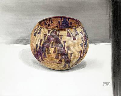 Maidu Geese Flying Basket Print by Ann Miller
