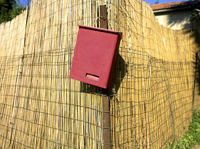 Mail Box On Bamboo Fence Print by Daniel Blatt