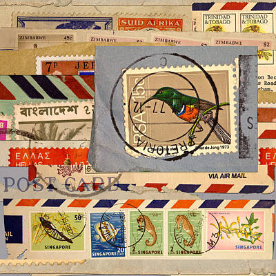 Mail Collage South Africa Print by Carol Leigh
