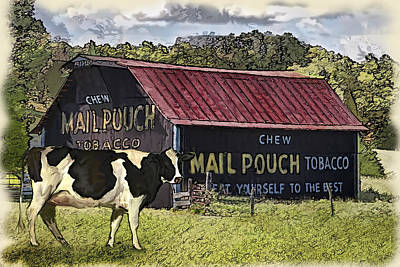 Mail Pouch Barn With Cow Print by Mary Almond