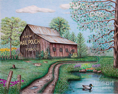Fence Drawing - Mail Pouch Tobacco Barn by Lena Auxier