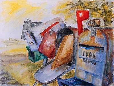 Mailboxes In Texas Print by Barbara Pommerenke
