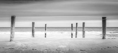 Main Beach Pilings Bw Print by Ryan Moore