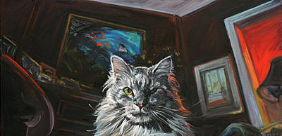 Cats Painting - Main Coon Cat Portrait The Two Faces Of The Cat by Christine Montague