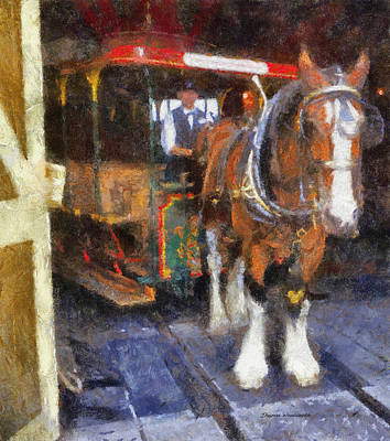 Main Street Horse And Trolley Wdw Photo Art Print by Thomas Woolworth