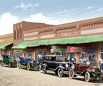 Old Main Street Grapevine Texas Print by Walt Curlee