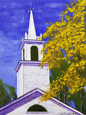 Maine Painting - Maine Country Church Steeple In Fall  by Keith Webber Jr