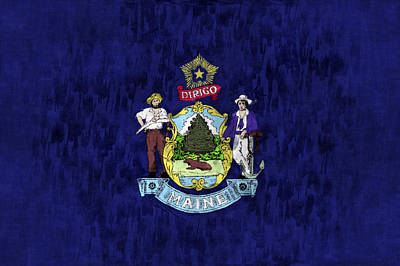 Maine Digital Art - Maine Flag by World Art Prints And Designs