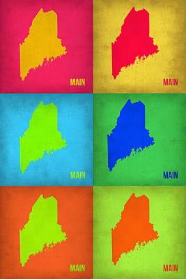 World Map Poster Digital Art - Maine Pop Art Map 1 by Naxart Studio