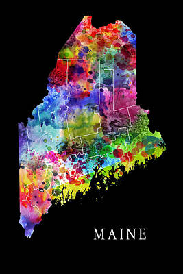 Androscoggin Digital Art - Maine State by Daniel Hagerman