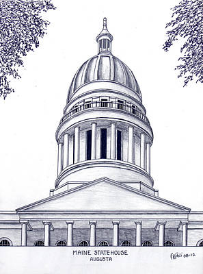 Capitol Building Mixed Media - Maine Statehouse by Frederic Kohli