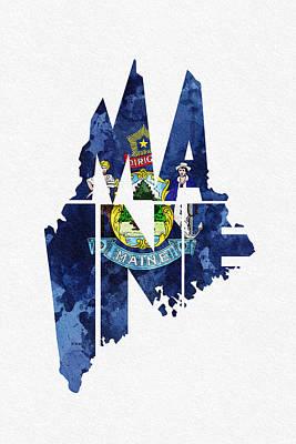 Augusta Digital Art - Maine Typographic Map Flag by Ayse Deniz