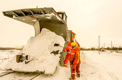 Train In The Winter Photograph - Maintenance Of The Railways Plow by Nick Mares