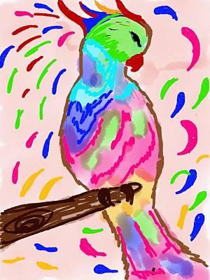 Parakeet Drawing - Majestic Bird by Gurkirat Gill