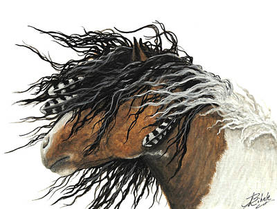 Pinto Painting - Majestic Curly Horse 67 by AmyLyn Bihrle