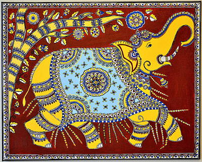Happy Elephant Painting - Majestic by Deepti Mittal