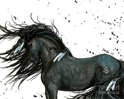 Horse Art Painting - Majestic Friesian 112 by AmyLyn Bihrle
