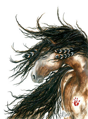 Hands Painting - Majestic Pinto Horse 80 by AmyLyn Bihrle