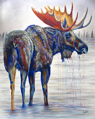 Lime Painting - Majestic Moose by Teshia Art