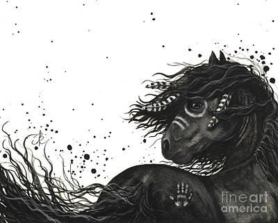 Fine American Art Painting - Majestic Friesian Horse 53 by AmyLyn Bihrle