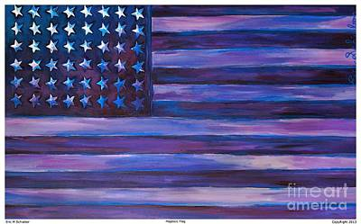 Memorial Day Drawing - Majestic Purple Flag by Eric  Schiabor