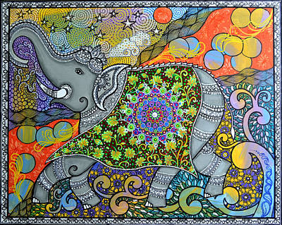 Happy Elephant Painting - Majestic3 by Deepti Mittal