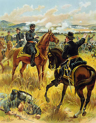 Major General George Meade At The Battle Of Gettysburg Print by Henry Alexander Ogden