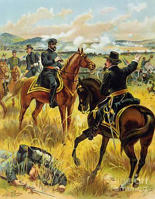 Soldier Field Drawing - Major General George Meade At The Battle Of Gettysburg by Henry Alexander Ogden