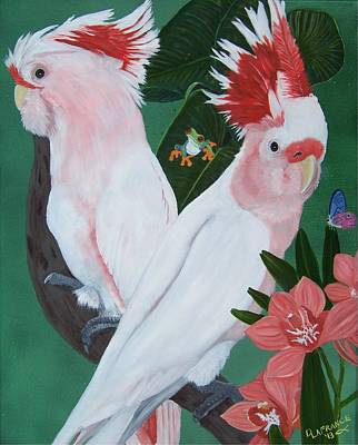 Cockatoo Painting - Major Mitchell Cockatoos by Debbie LaFrance