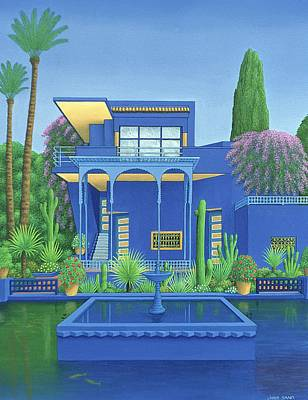 Majorelle Gardens, Marrakech, 1996 Carylic On Linen See 186509 Print by Larry Smart